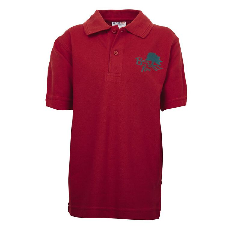 Schooltex Barton Rural Short Sleeve Polo with Screenprint, Red, hi-res