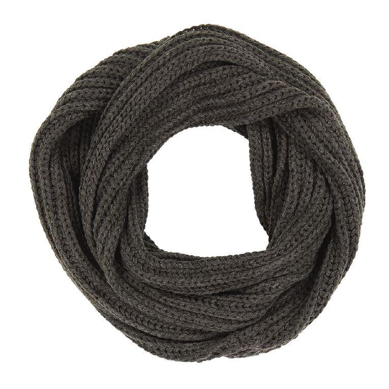 H&H Women's Chunky Rib Snood, Charcoal/Marle, hi-res