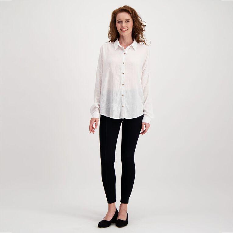H&H Women's Textured Cotton Boyfriend Shirt, White, hi-res