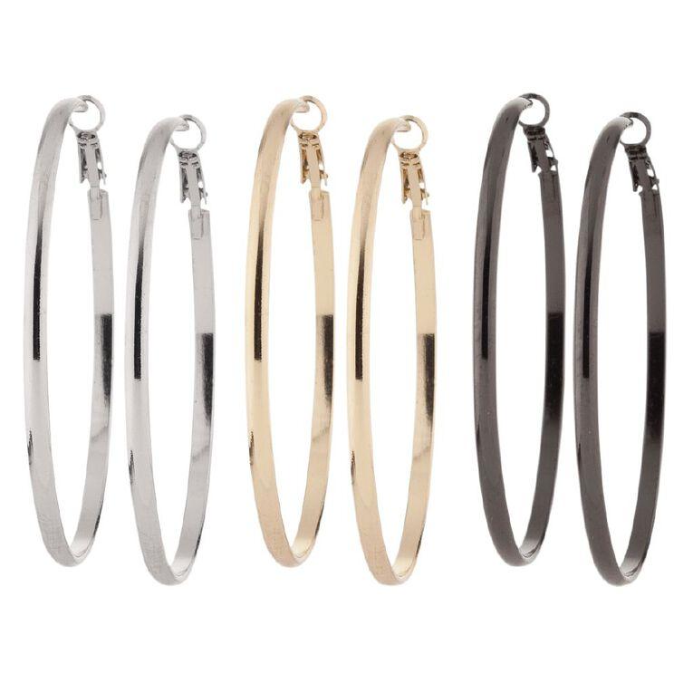 Basics Brand Hoop Earrings 3 Pairs, Grey, hi-res