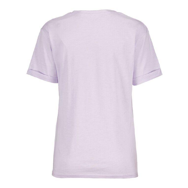 H&H Women's Oversized Roll Sleeve Tee, Purple Light, hi-res