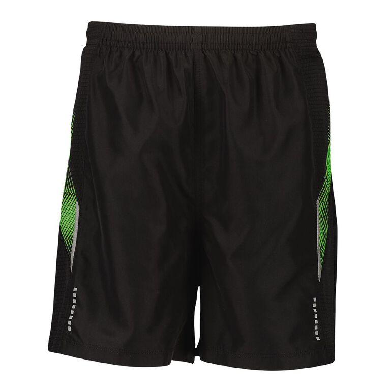 Active Intent Boys' Printed Panel Woven Shorts, Black, hi-res image number null