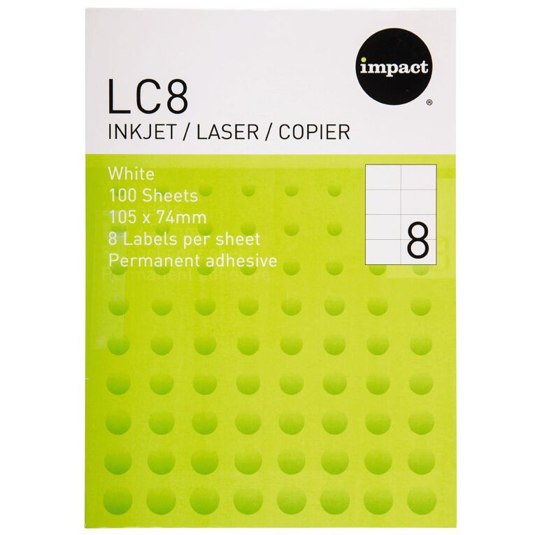 Impact Labels 100 Sheets A4/8 White, , hi-res