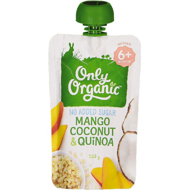 Only Organic Baby Food Mango Coconut and Quinoa 120g Pouch, , hi-res