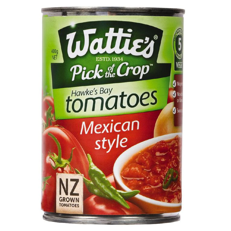 Wattie's Mexican Style Tomatoes Spiced 400g 400g, , hi-res