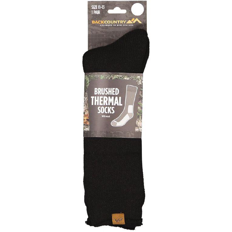 Back Country Men's Brushed Thermal Socks 1 Pack, Black, hi-res