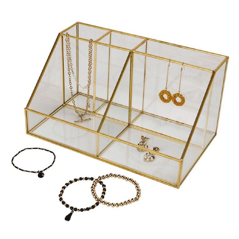 Living & Co Multi Function Glass Trnkt Holder Gold 25cm x 15cm x 13cm, , hi-res