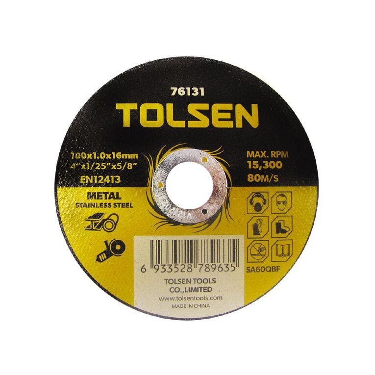 Tolsen Metal Cutting Disc 100x1.0x16mm 10 Pack, , hi-res