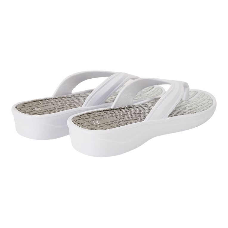 H&H Sporty Jandals, White, hi-res
