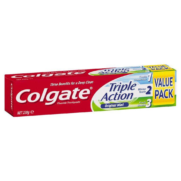 Colgate Triple Action Toothpaste 220g, , hi-res