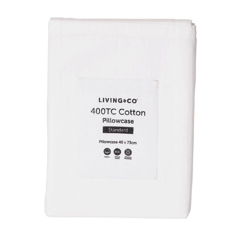 Living & Co Pillowcase Standard Cotton 400 TC White 48cm x 73cm, White, hi-res