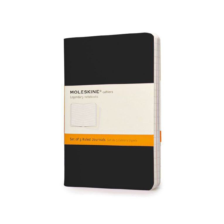 Moleskine Cahier Notebook Ruled 3 Pack Black, , hi-res