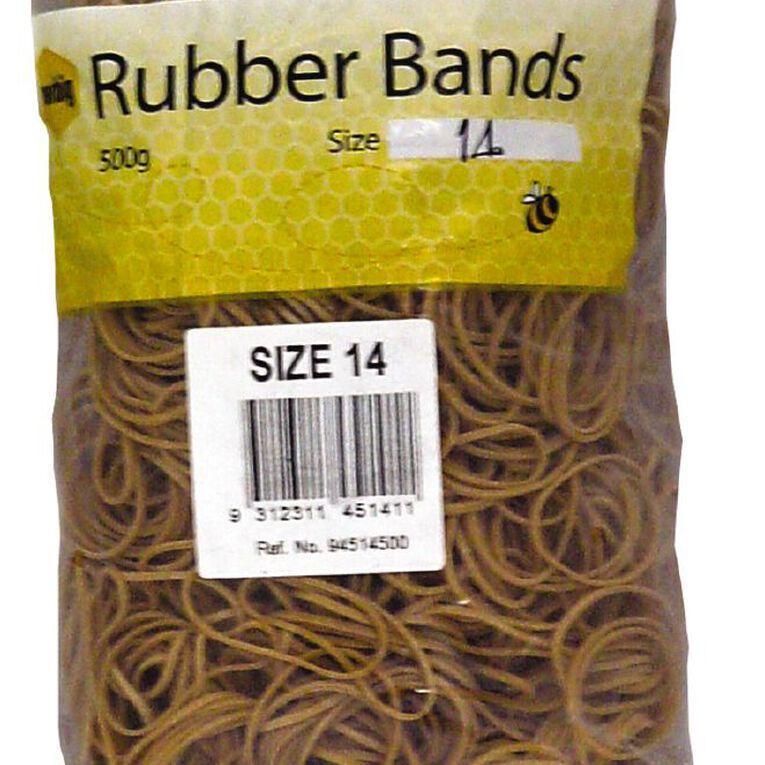 Marbig Rubber Bands 500g #14 Brown, , hi-res