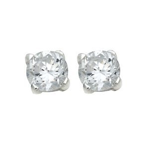 Sterling Silver White CZ Earrings 4mm