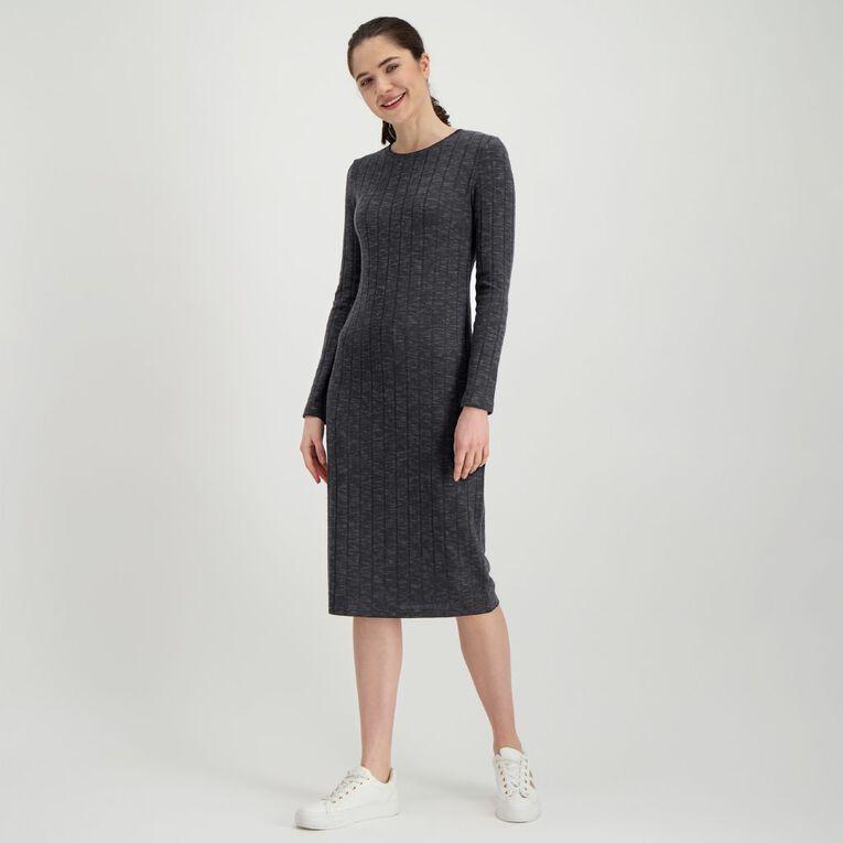 H&H Women's Brushed Rib Dress, Charcoal/Grey, hi-res