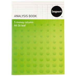 WS Analysis Book Limp 5 Column Green A4