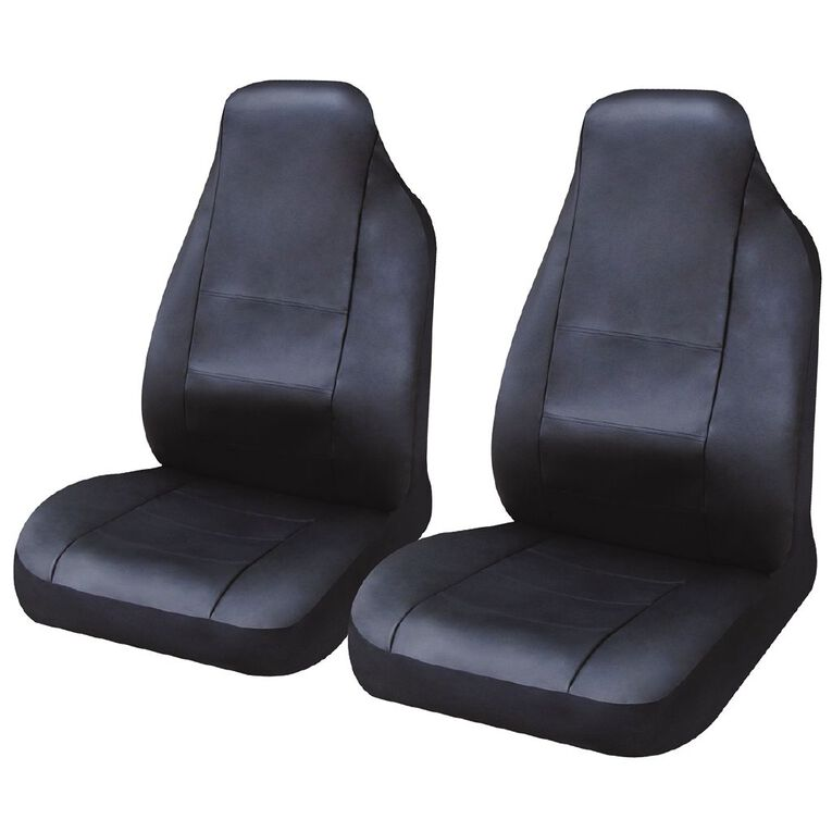 Mako Car Seat Cover Leather Look Front Pair High Back, , hi-res