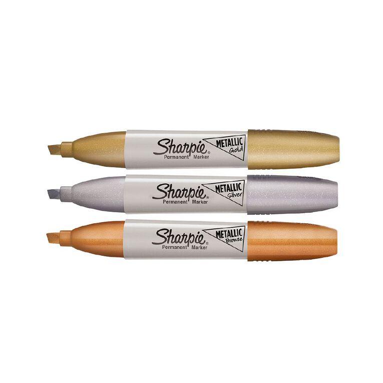 Sharpie Permanent Marker Chisel Metallic Assorted 3 Pack, , hi-res