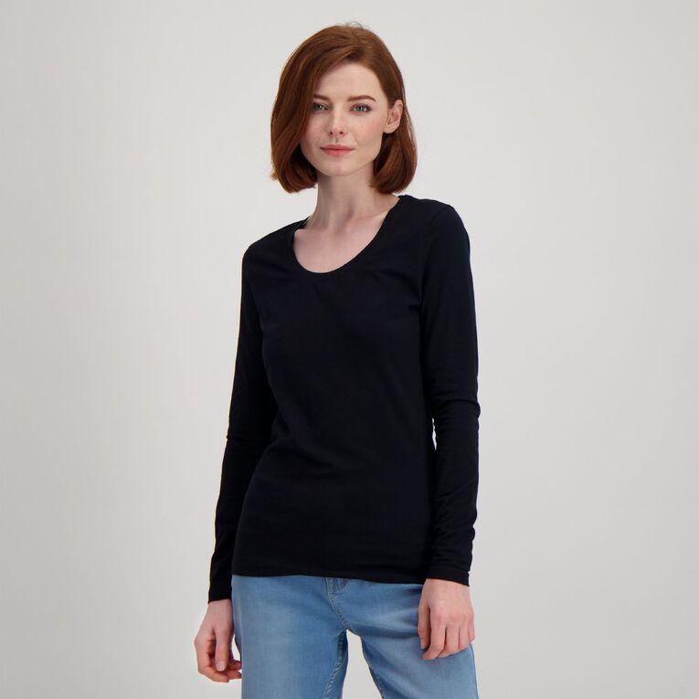 H&H Long Sleeve Scoop Neck Top, Black, hi-res