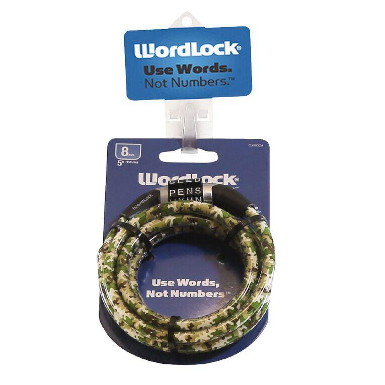 Wordlock Bike Lock 5 Foot/8mm/150cm Assorted, , hi-res