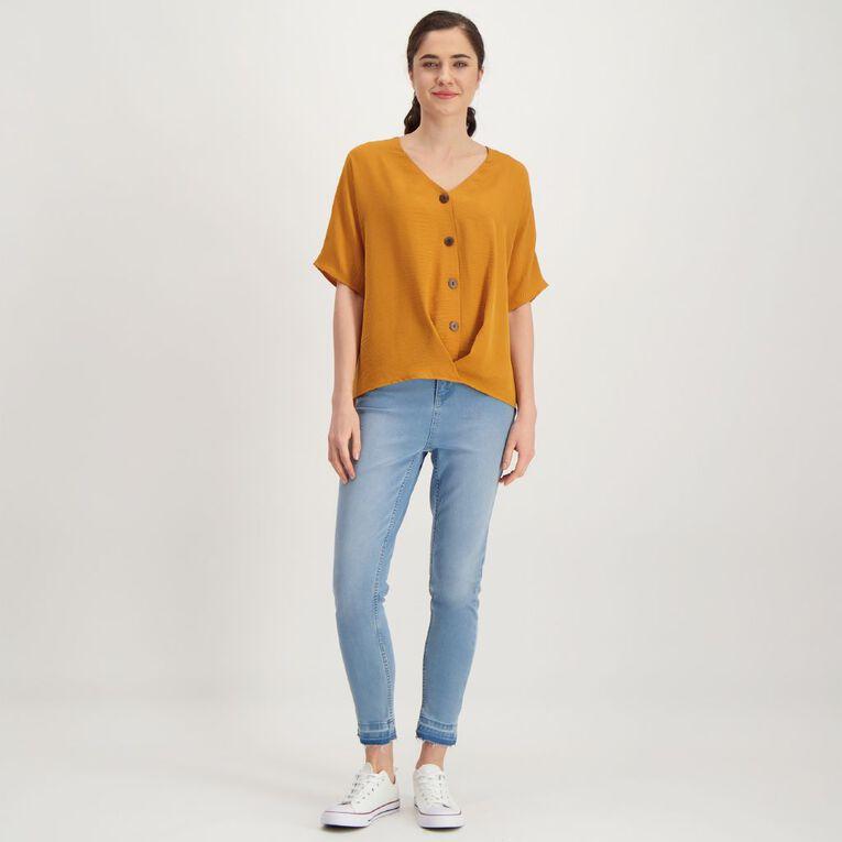 H&H Women's Twist Front Blouse, Yellow Mid, hi-res