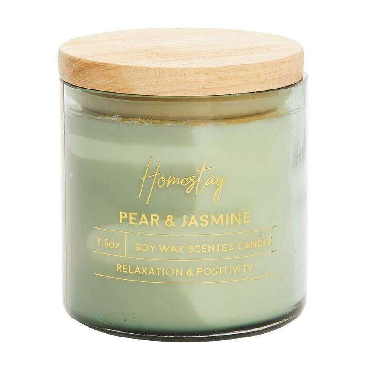 Living & Co Homestay Candle Pear & Jasmine Green 7.5oz, Green, hi-res