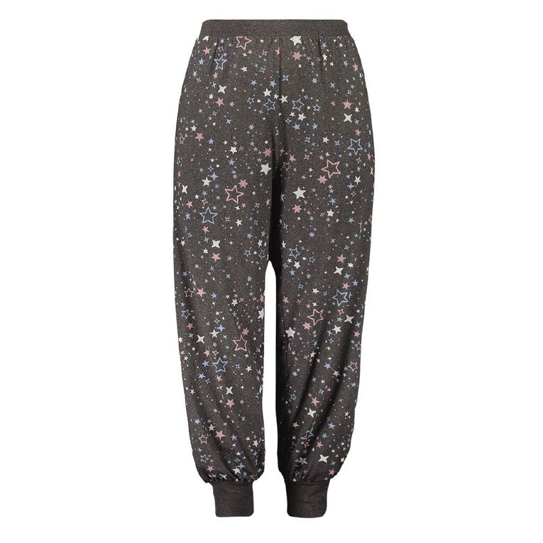 H&H Cosy Curvy Women's Allover Printed 3/4 Pyjama Pants, Charcoal, hi-res