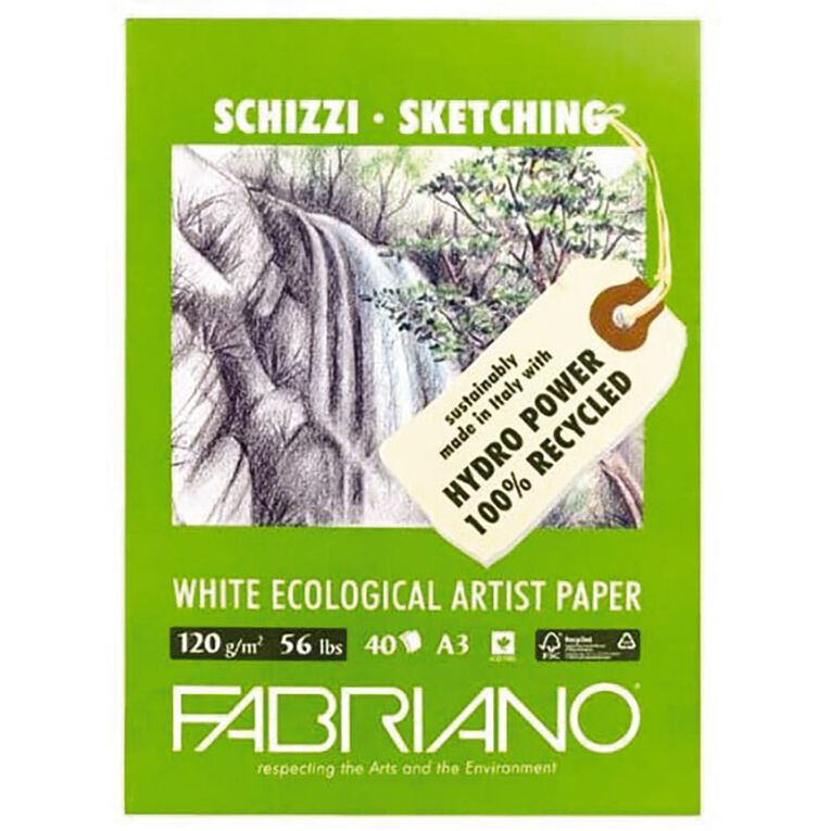 Fabriano Ecological Sketch Pad 120GSM 40 Sheets A3, , hi-res