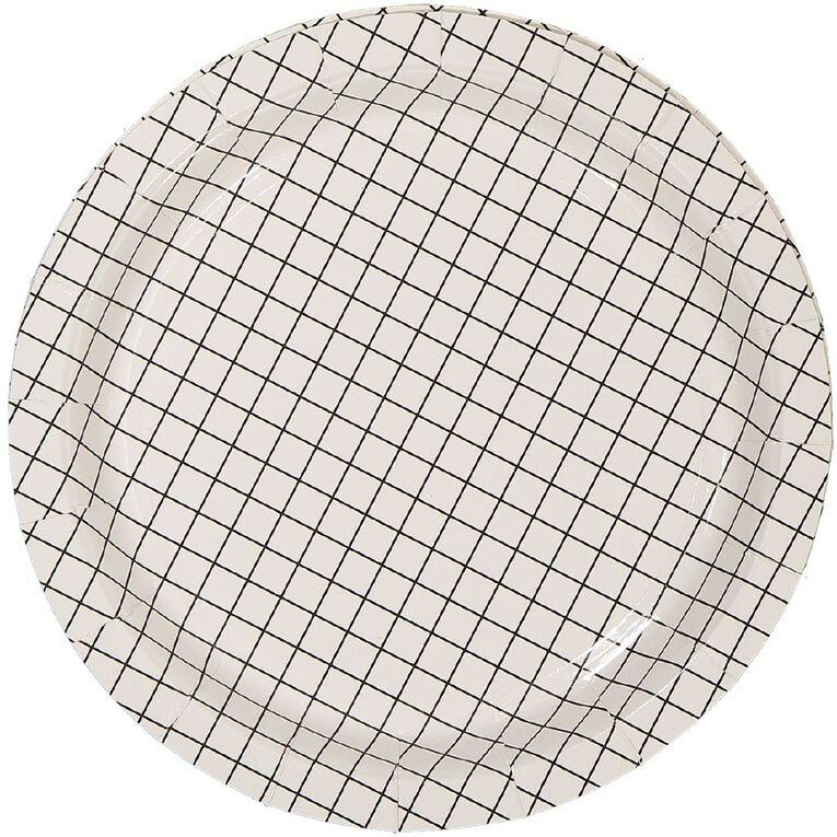 Party Inc Black & White Grid Paper Plates 18cm 8 Pack, , hi-res