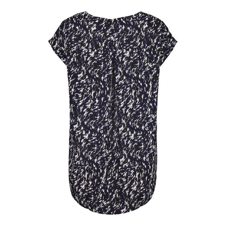 H&H Women's Roll Cuff Shell Top, Navy, hi-res