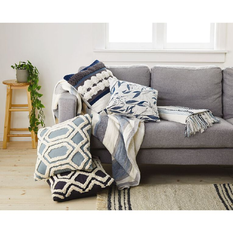 Living & Co Chenille Stripe Throw Arona Blue 127cm x 152cm, Blue, hi-res
