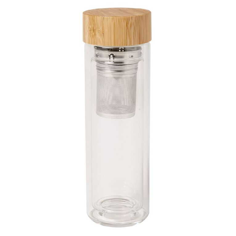 Living & Co Glass Travel Flask with Infuser & Bamboo Lid 500ml, , hi-res