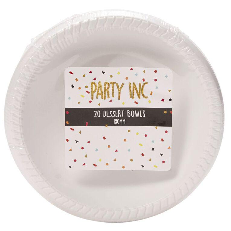 Party Inc Dessert Bowls White 180mm 20 Pack, , hi-res