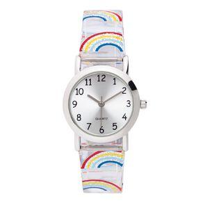 Little Tix Time Teacher Analogue Watch Giltter Rainbow