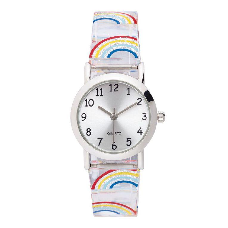 Little Tix Time Teacher Analogue Watch Giltter Rainbow, , hi-res