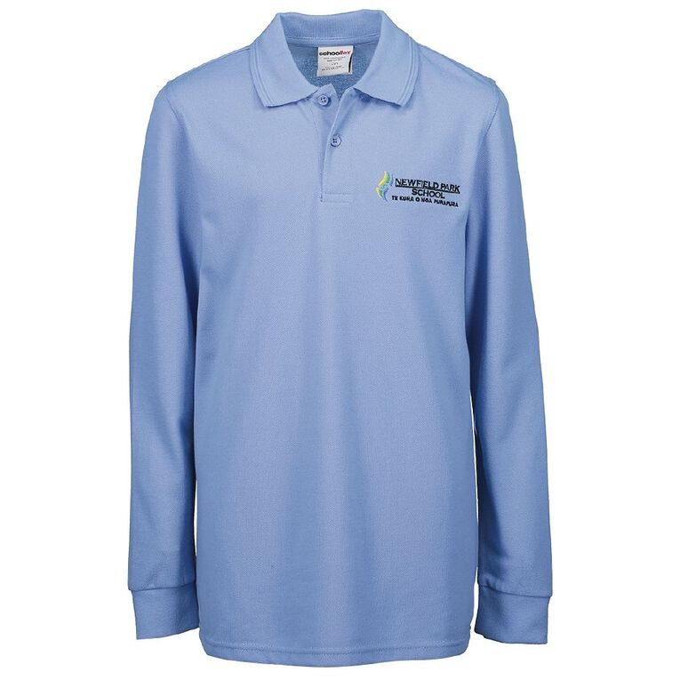 Schooltex Newfield Park Long Sleeve Polo with Embroidery, Sky Blue, hi-res