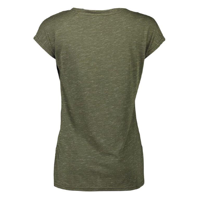 Active Intent Women's Extended Shoulder Step Hem Tee, Green Dark, hi-res
