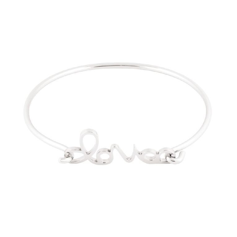 Stainless Steel Silver Plated Love Hook Bangle, , hi-res