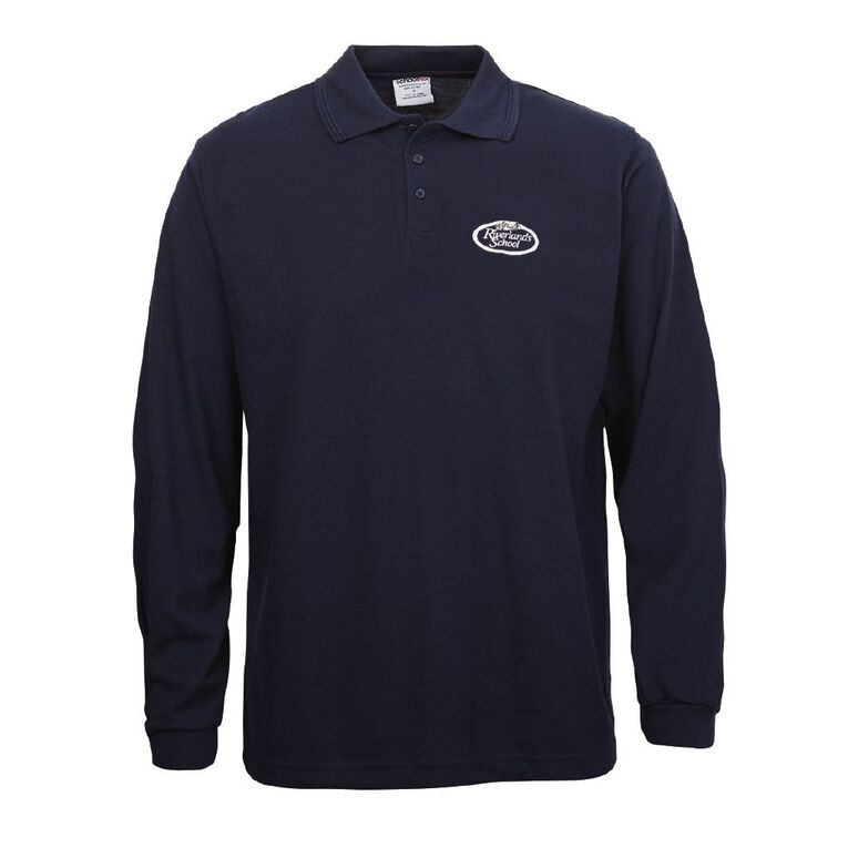 Schooltex Riverlands Long Sleeve Polo with Embroidery, Navy, hi-res