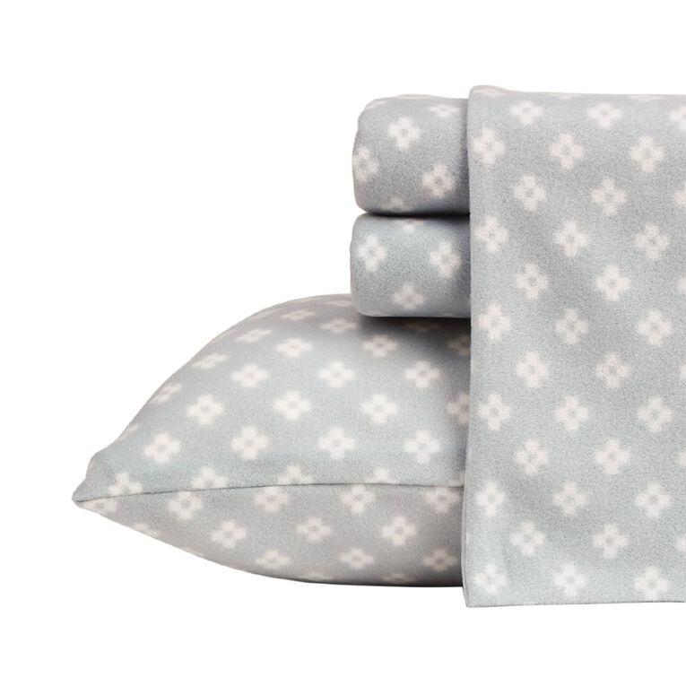 Living & Co Sheet Set Polar Flannel Printed Diamonds Grey Single, Grey, hi-res image number null