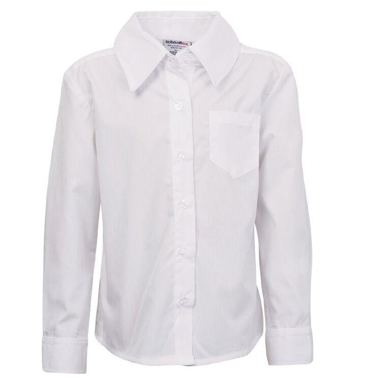 Schooltex Women's Button Neck School Blouse, White, hi-res