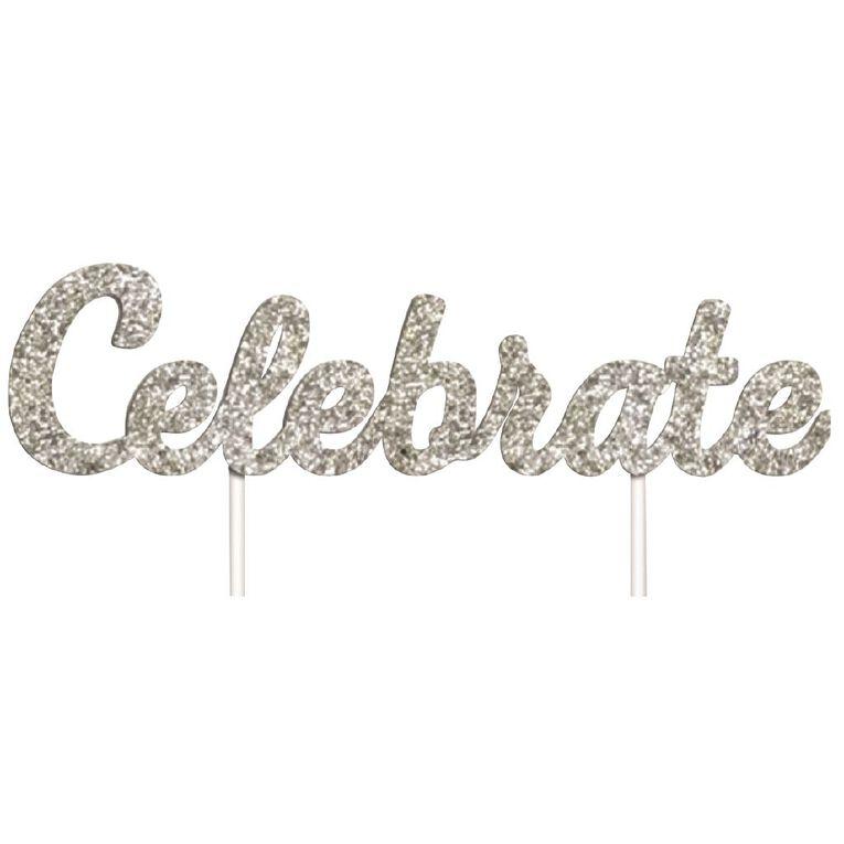 Artwrap Celebrate Glitter Cake Topper Silver, , hi-res