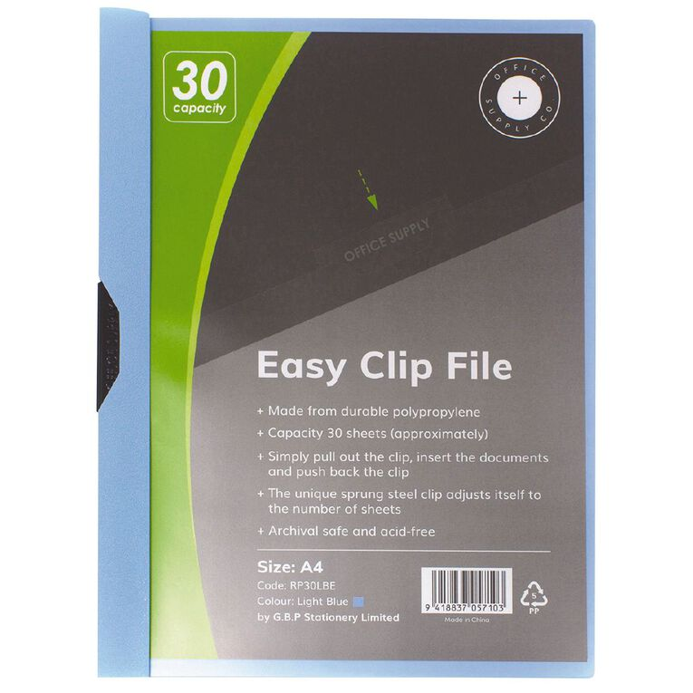 Office Supply Co Easy Clip File 30 Capacity Light Blue A4, , hi-res