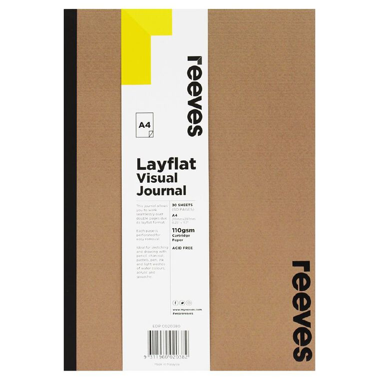 Reeves Visual Journal Layflat Kraft A4 30 Sheets, , hi-res
