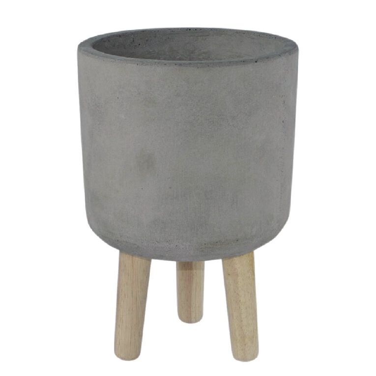 Kiwi Garden Cement Cylinder Pot with Stand 20cm, , hi-res
