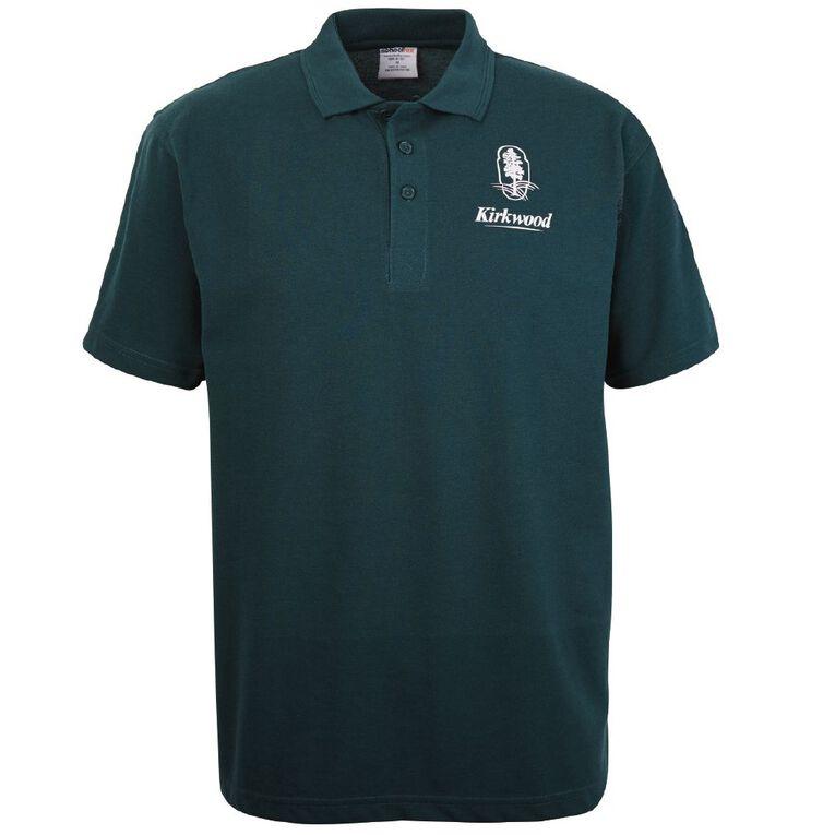 Schooltex Kirkwood Intermediate Short Sleeve Polo with Transfer, Bottle Green, hi-res