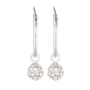 Sterling Silver White Crystal Hoop Ball Earrings