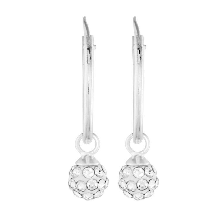 Sterling Silver White Crystal Hoop Ball Earrings, , hi-res image number null