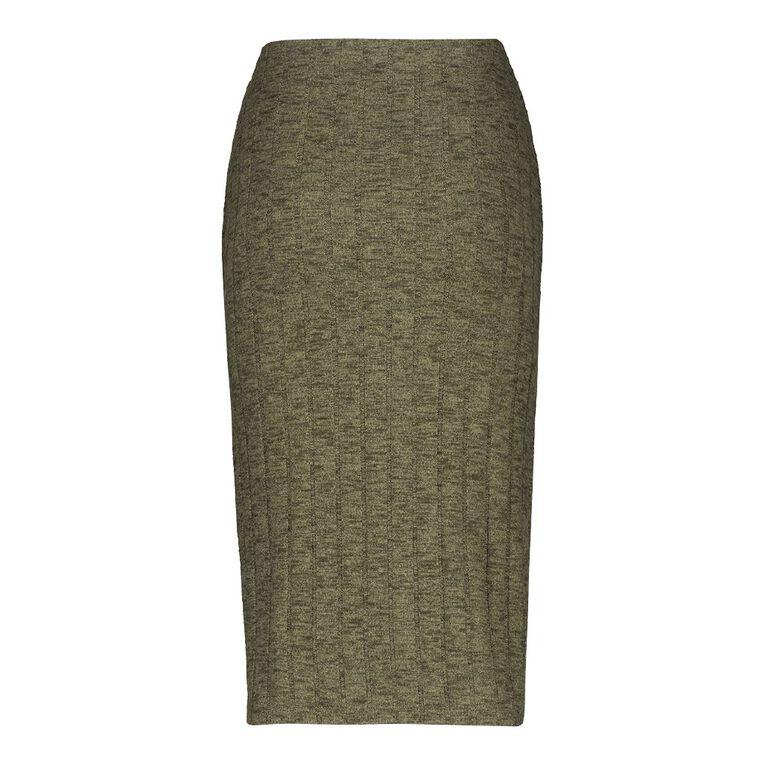 H&H Women's Brushed Rib Midi Skirt, Green Mid, hi-res
