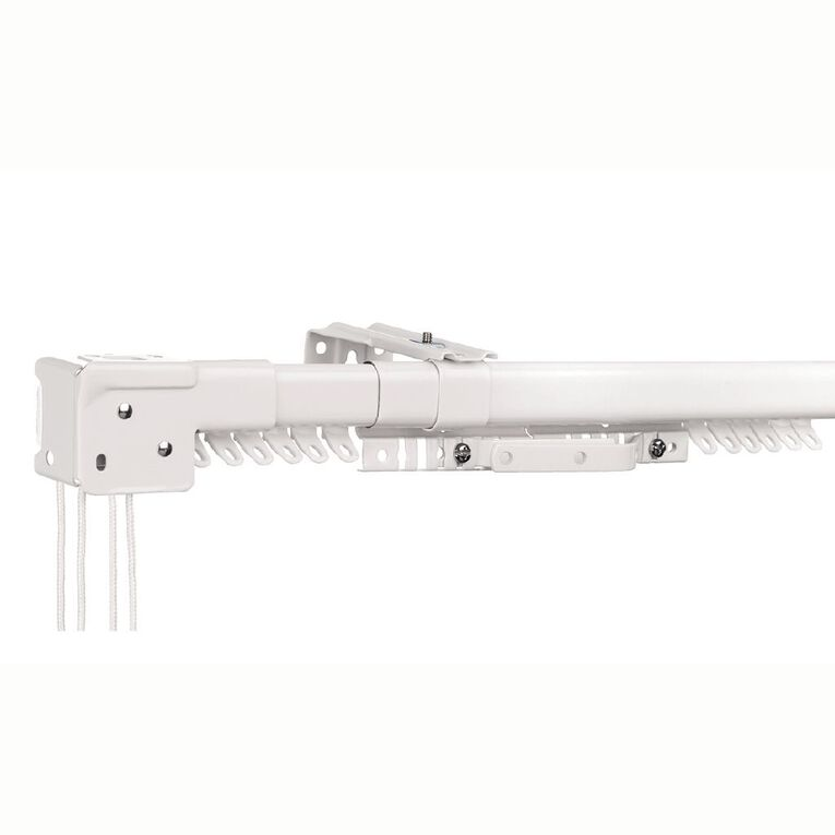 Living & Co Extendable Cord Drawn Curtain Track White 200-290cm, White, hi-res